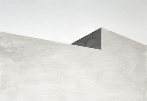 Bau 4, Tusche auf Papier, Collage, 100 x 70 cm, © David Kröswang
