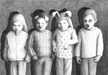Kindheit, Bleistift auf Papier, 40 x 30 cm, © David Kröswang