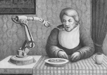 Mahlzeit, Bleistift auf Papier, 40 x 30 cm, © David Kröswang
