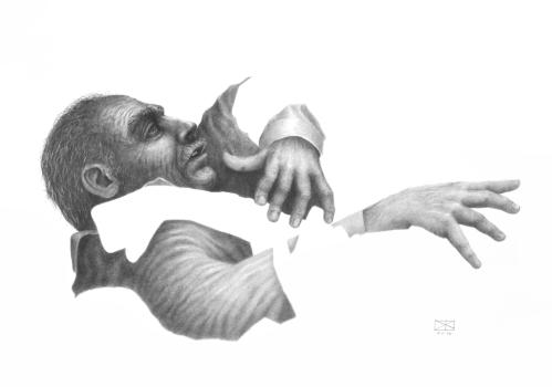 ohne Titel, Bleistift auf Papier, 100 x 70 cm, © David Kröswang
