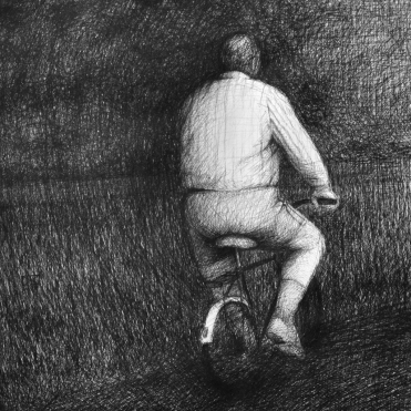 Radfahrer, Kugelschreiber auf Papier, 70 x 70 cm, © David Kröswang