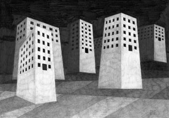 Siedlung, Bleistift auf Papier, 40 x 30 cm, © David Kröswang