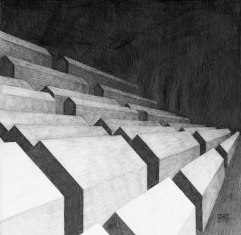 Siedlung 2, Bleistift auf Papier, 30 x 30 cm, © David Kröswang