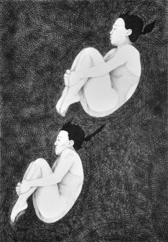 Turmspringerinnen, Kugelschreiber auf Papier, 100 x 70 cm, © David Kröswang