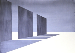 Wand 2, Tusche auf Papier, Collage, 100 x 70 cm, © David Kröswang