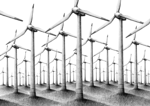 Windräder, Bleistift auf Papier, digitale Collage, © David Kröswang
